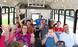 Group in the outing bus
