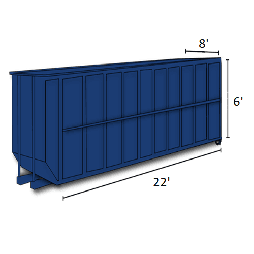 Picture of 30-cubic-yard open-top dumpster with dimensions