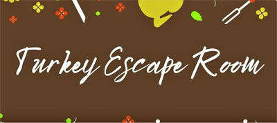 The words Turkey Escape Room in white on a brown background