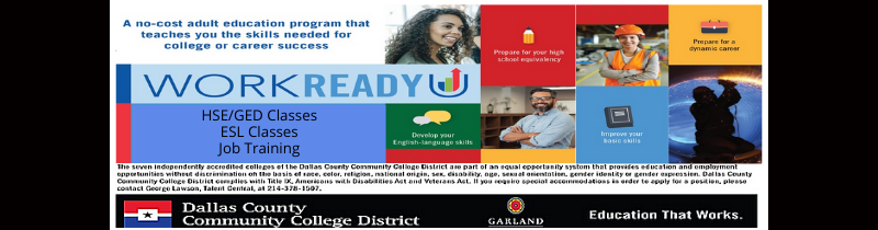 Banner ad for WorkReadyU from Dallas County Community College District for free HSE/GED classes, ESL