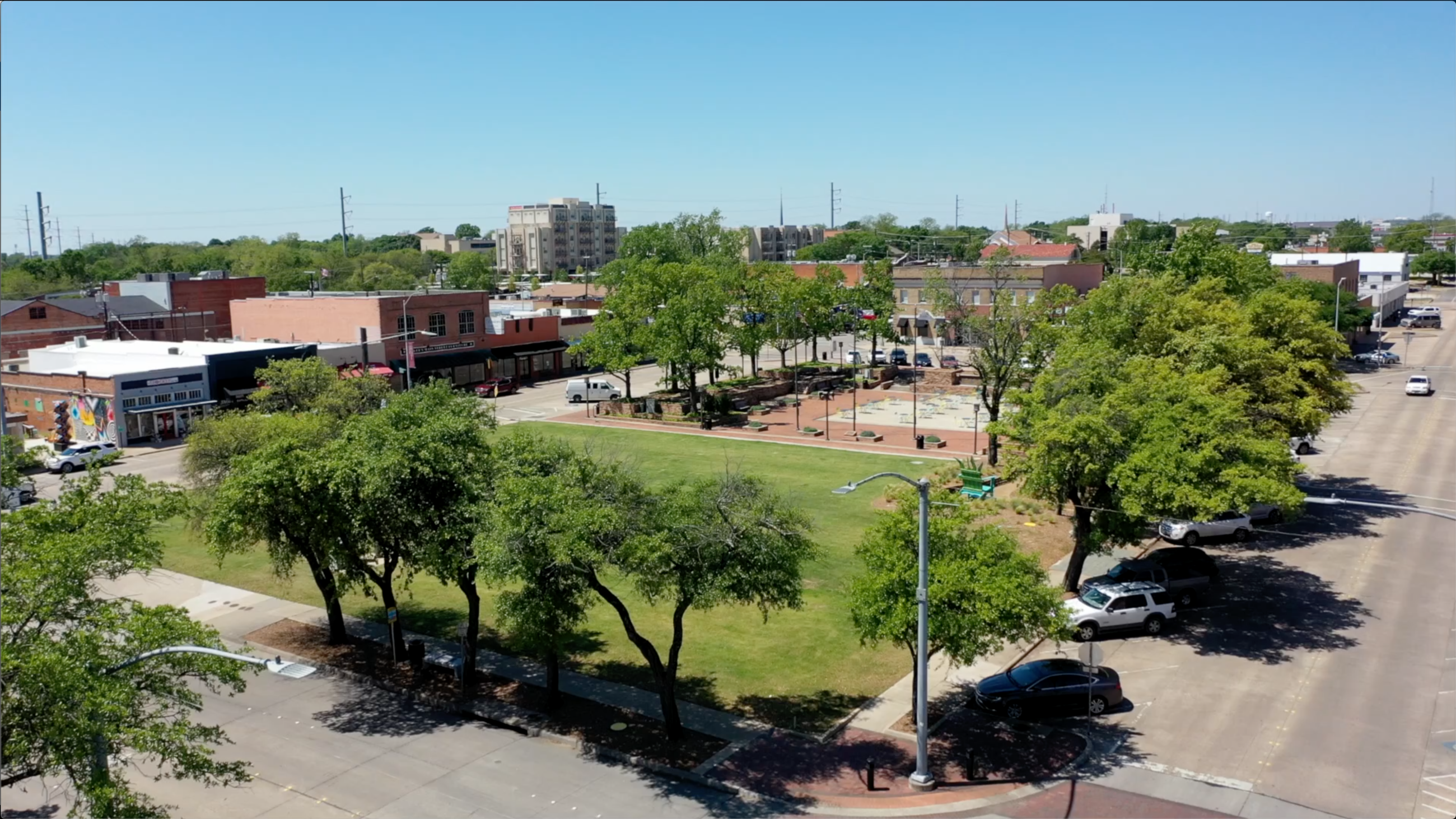 Aerial view of Downtown Garland